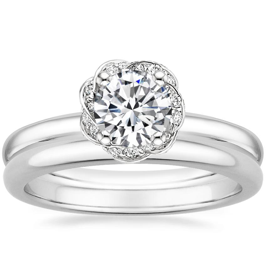 18K White Gold Corinna Diamond Ring with 2mm Comfort Fit Wedding Ring
