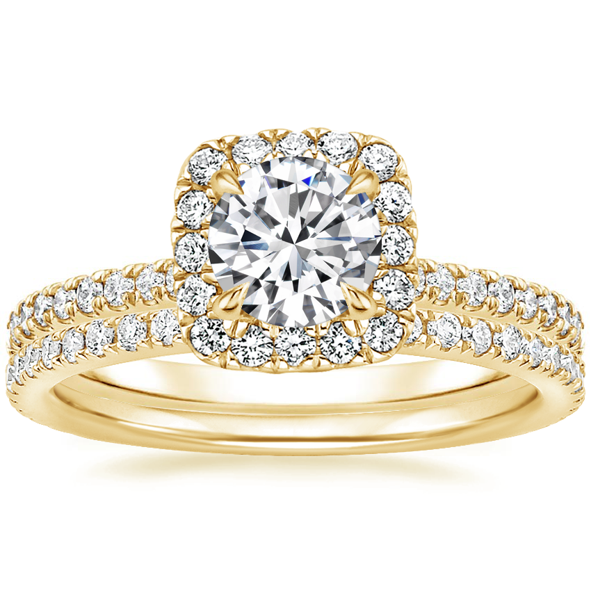 18K Yellow Gold Giselle Diamond Ring (1/2 ct. tw.) with Luxe Ballad Diamond Ring (1/4 ct. tw.)