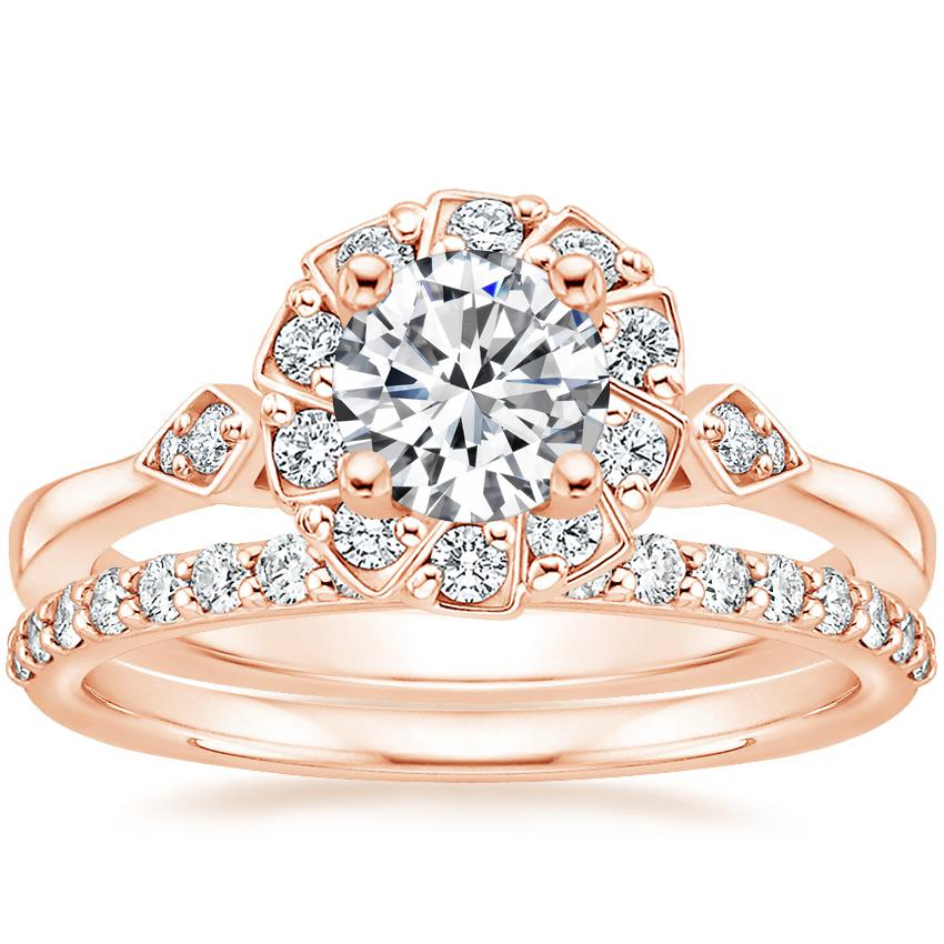 14K Rose Gold Geo Halo Diamond Ring with Petite Shared Prong Diamond Ring (1/4 ct. tw.)