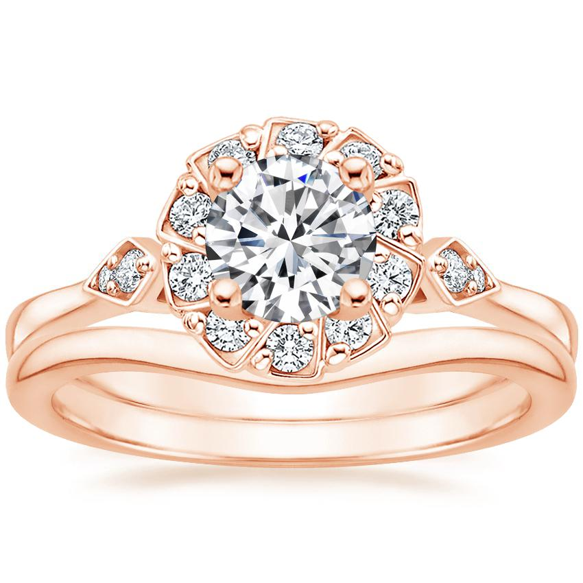 14K Rose Gold Geo Halo Diamond Ring with Petite Curved Wedding Ring