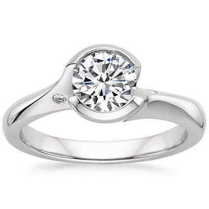 18K White Gold Cascade Ring with Diamond Accents, top view