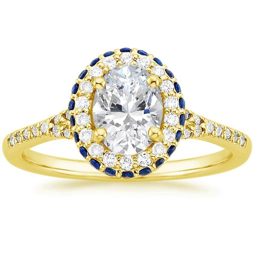 18K Yellow Gold Circa Diamond Ring with Sapphire Accents, top view