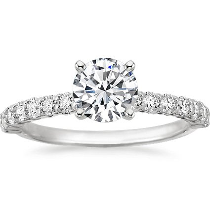 18K White Gold Shared Prong Diamond Ring, top view