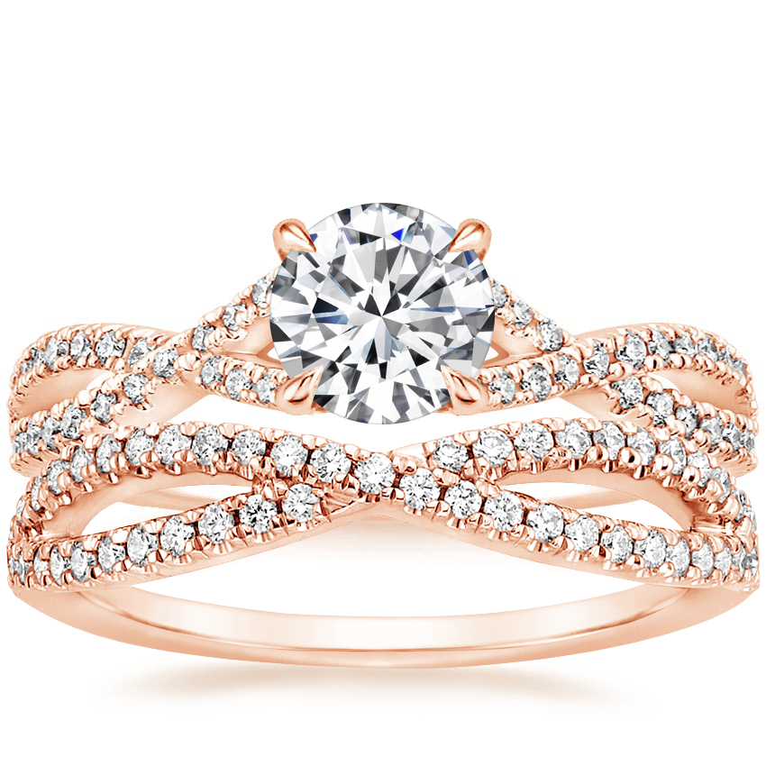 14K Rose Gold Chloe Diamond Ring (1/4 ct. tw.) with Entwined Diamond Ring (1/4 ct. tw.)