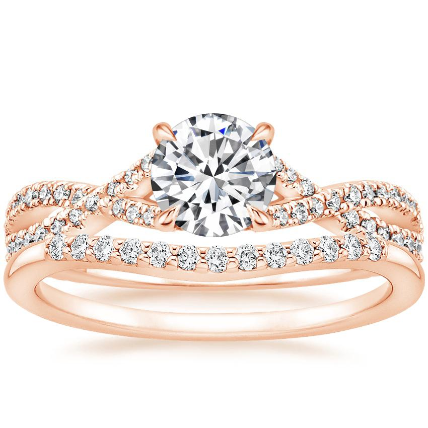14K Rose Gold Chloe Diamond Ring (1/4 ct. tw.) with Petite Curved Diamond Ring