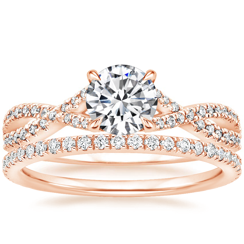 14K Rose Gold Chloe Diamond Ring (1/4 ct. tw.) with Luxe Ballad Diamond Ring (1/4 ct. tw.)