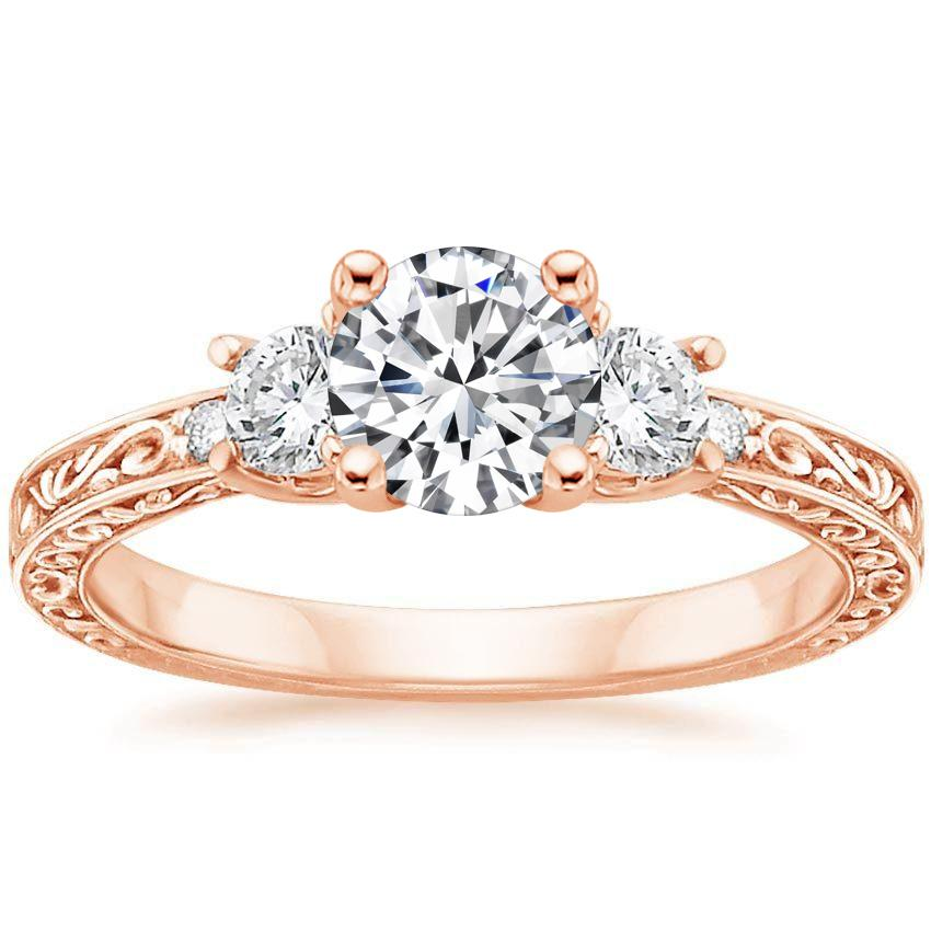 14K Rose Gold Antique Scroll Three Stone Trellis Ring (1/3 ct. tw.), top view