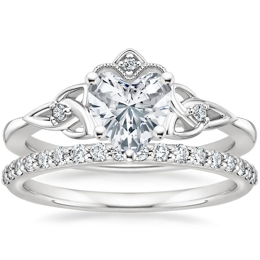 18K White Gold Celtic Crown Diamond Ring with Petite Shared Prong Diamond Ring (1/4 ct. tw.)