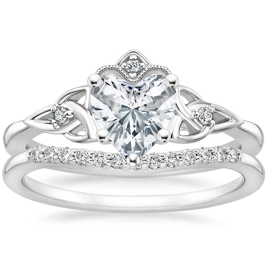 18K White Gold Celtic Crown Diamond Ring with Petite Curved Diamond Ring (1/10 ct. tw.)