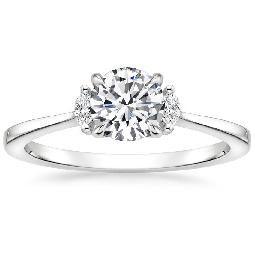 Round Marquise Three Stone Ring