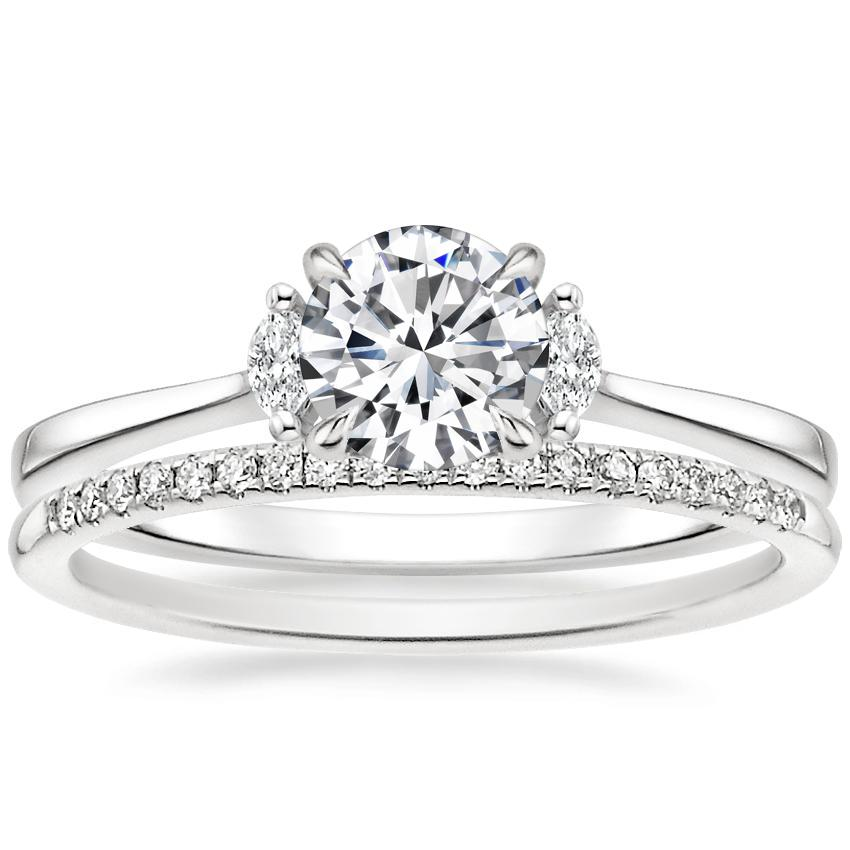 18K White Gold Jolie Diamond Ring with Whisper Diamond Ring (1/10 ct. tw.)