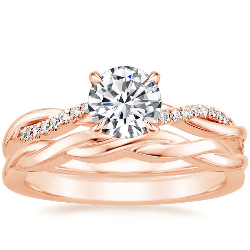 14K Rose Gold Petite Twisted Vine Diamond Ring (1/8 ct. tw.) with Twisted Vine Ring
