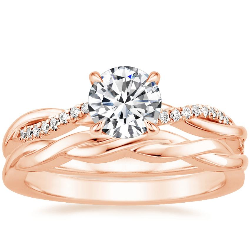 14K Rose Gold Petite Twisted Vine Diamond Ring with Twisted Vine Ring