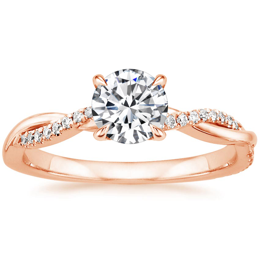 Round 14K Rose Gold Petite Twisted Vine Diamond Ring (1/8 ct. tw.)