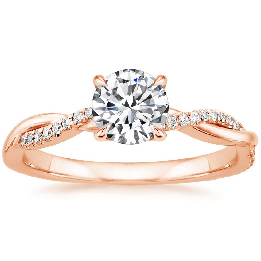 Round 14K Rose Gold Petite Twisted Vine Diamond Ring