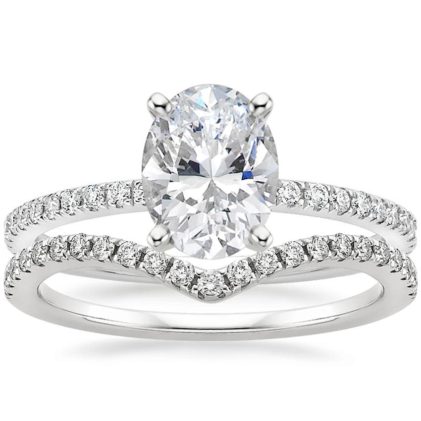 18K White Gold Luxe Ballad Diamond Ring (1/4 ct. tw.) with Flair Diamond Ring (1/6 ct. tw.)