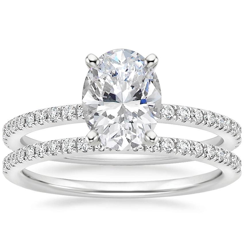 Platinum Luxe Ballad Diamond Ring (1/4 ct. tw.) with Ballad Diamond Ring (1/6 ct. tw.)