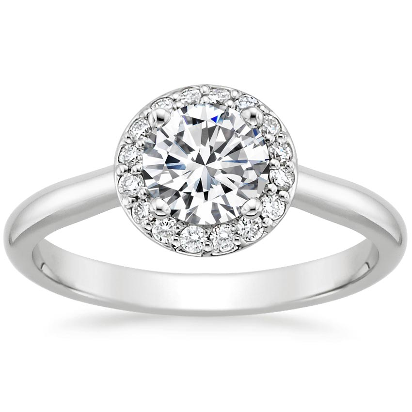 18K White Gold Halo Diamond Ring, top view