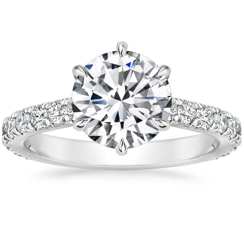 Round French Pavé Engagement Setting