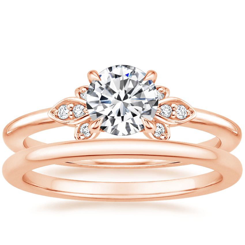 14K Rose Gold Fiorella Diamond Ring with Petite Comfort Fit Wedding Ring