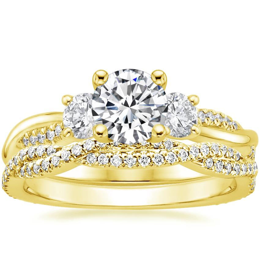 18K Yellow Gold Three Stone Petite Twisted Vine Diamond Ring with Petite Luxe Twisted Vine Diamond Ring