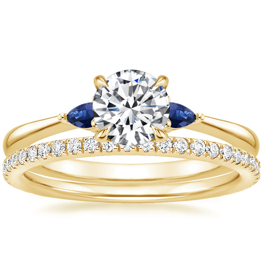 18K Yellow Gold Aria Diamond Ring with Sapphire Accents with Luxe Ballad Diamond Ring (1/4 ct. tw.)
