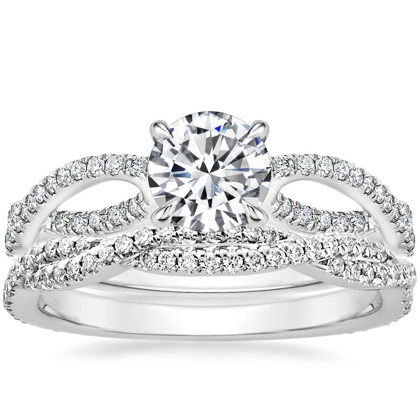 18K White Gold Cascade Diamond Ring with Petite Luxe Twisted Vine Diamond Ring (1/4 ct. tw.)