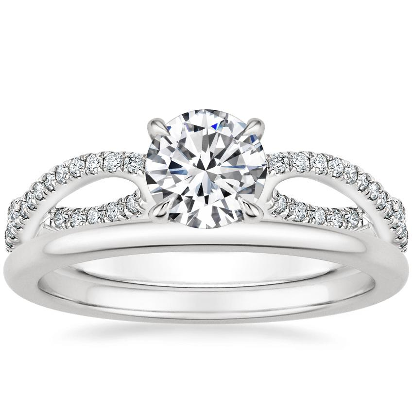 18K White Gold Cascade Diamond Ring with Petite Comfort Fit Wedding Ring