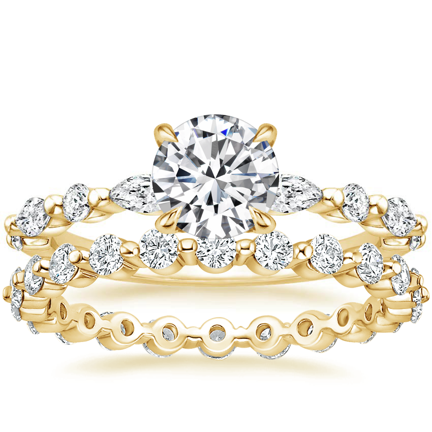 18K Yellow Gold Versailles Diamond Ring (1/3 ct. tw.) with Marseille Eternity Diamond Ring (2/3 ct. tw.)