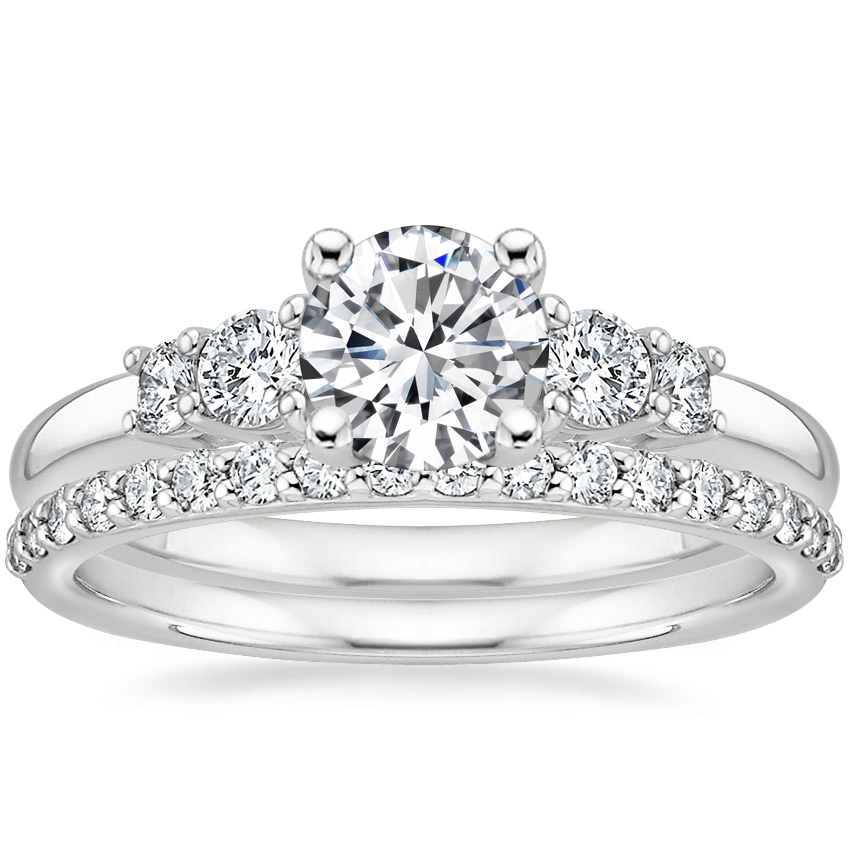 18K White Gold Rialto Diamond Ring (1/4 ct. tw.) with Petite Shared Prong Diamond Ring (1/4 ct. tw.)