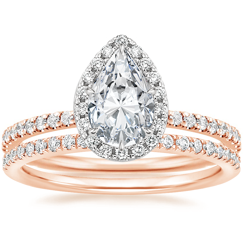 14K Rose Gold Mixed Metal Waverly Diamond Ring (1/2 ct. tw.) with Ballad Diamond Ring (1/6 ct. tw.)