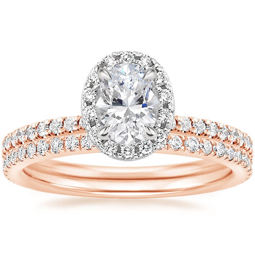14K Rose Gold Mixed Metal Waverly Diamond Ring (1/2 ct. tw.) with Luxe Ballad Diamond Ring (1/4 ct. tw.)