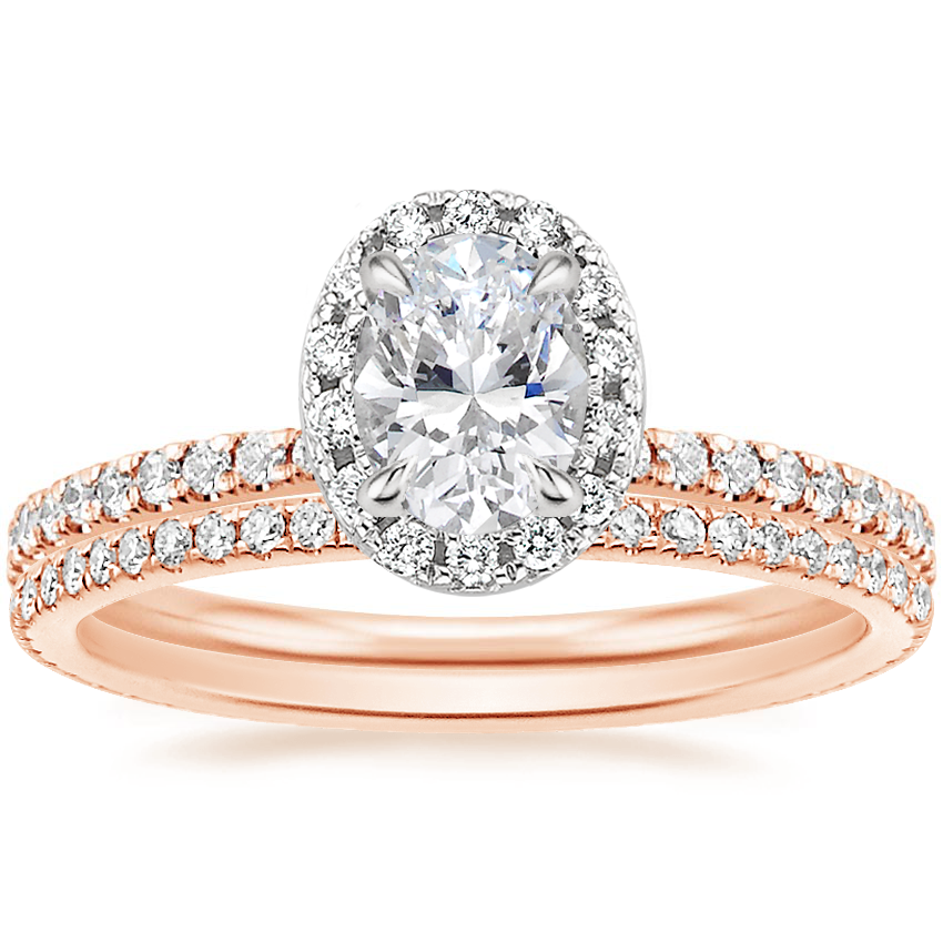 14K Rose Gold Mixed Metal Waverly Diamond Ring (1/2 ct. tw.) with Whisper Eternity Diamond Ring (1/4 ct. tw.)