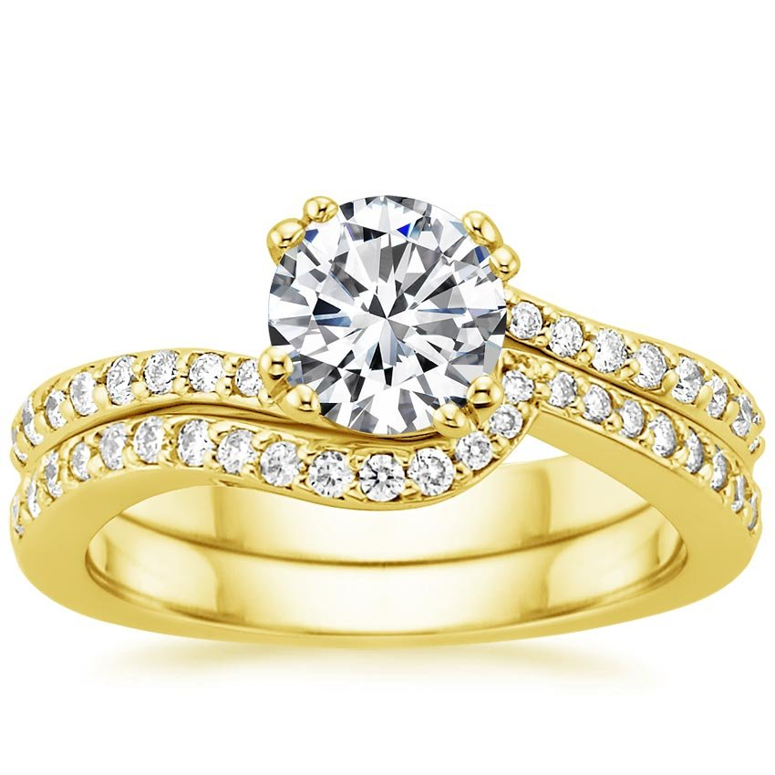 18K Yellow Gold Seacrest with Diamond Accents Matched Set (1/3 ct. tw.), top view