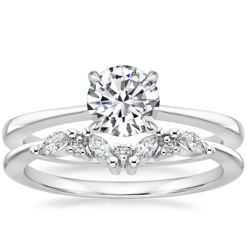 18K White Gold Elle Ring with Yvette Diamond Ring