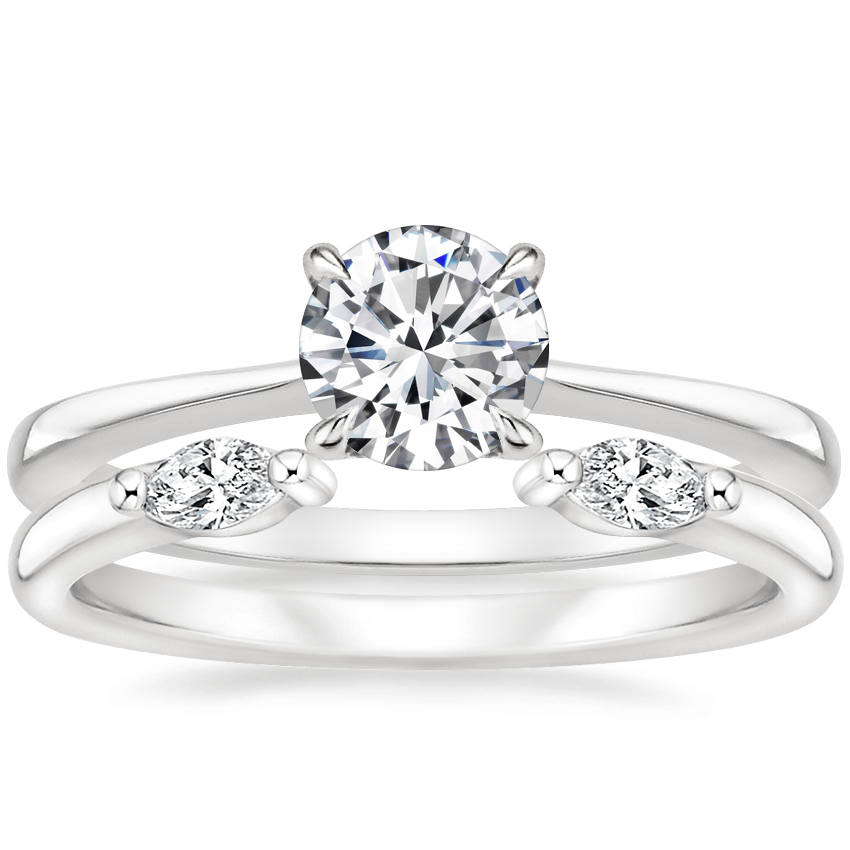 18K White Gold Elle Ring with Nora Diamond Ring
