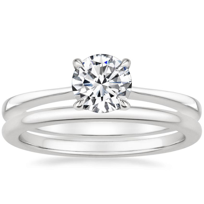 Platinum Elle Diamond Ring with Petite Comfort Fit Wedding Ring