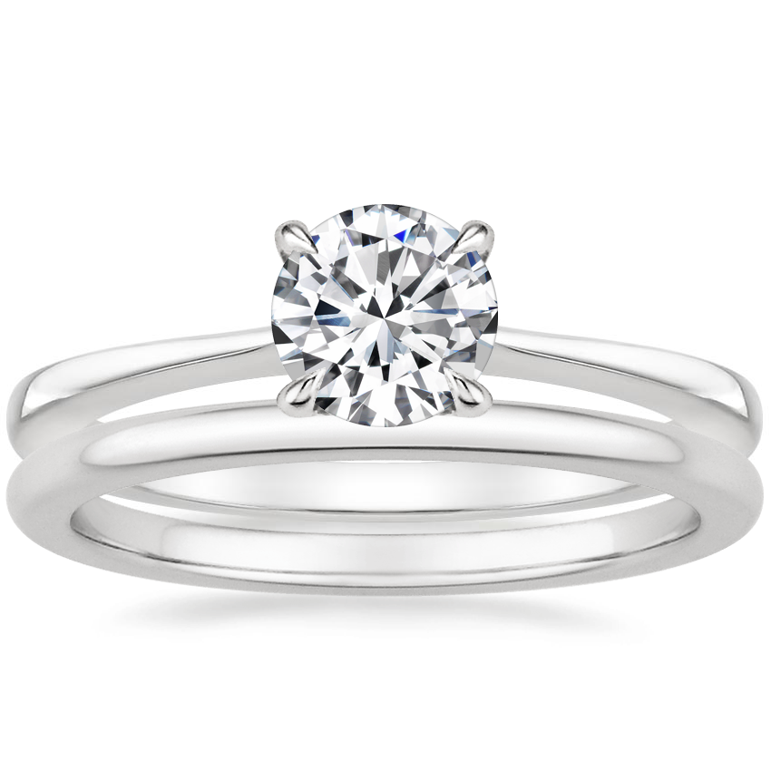 18K White Gold Elle Diamond Ring with Petite Comfort Fit Wedding Ring