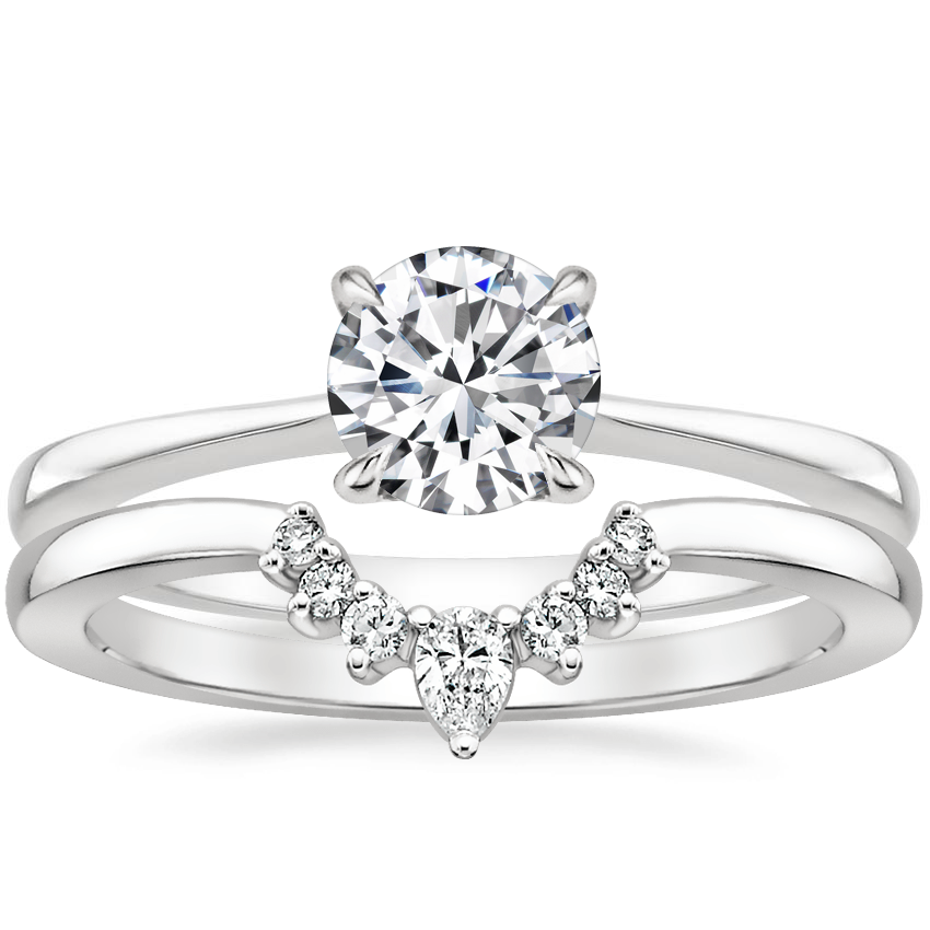 18K White Gold Elle Ring with Lunette Diamond Ring