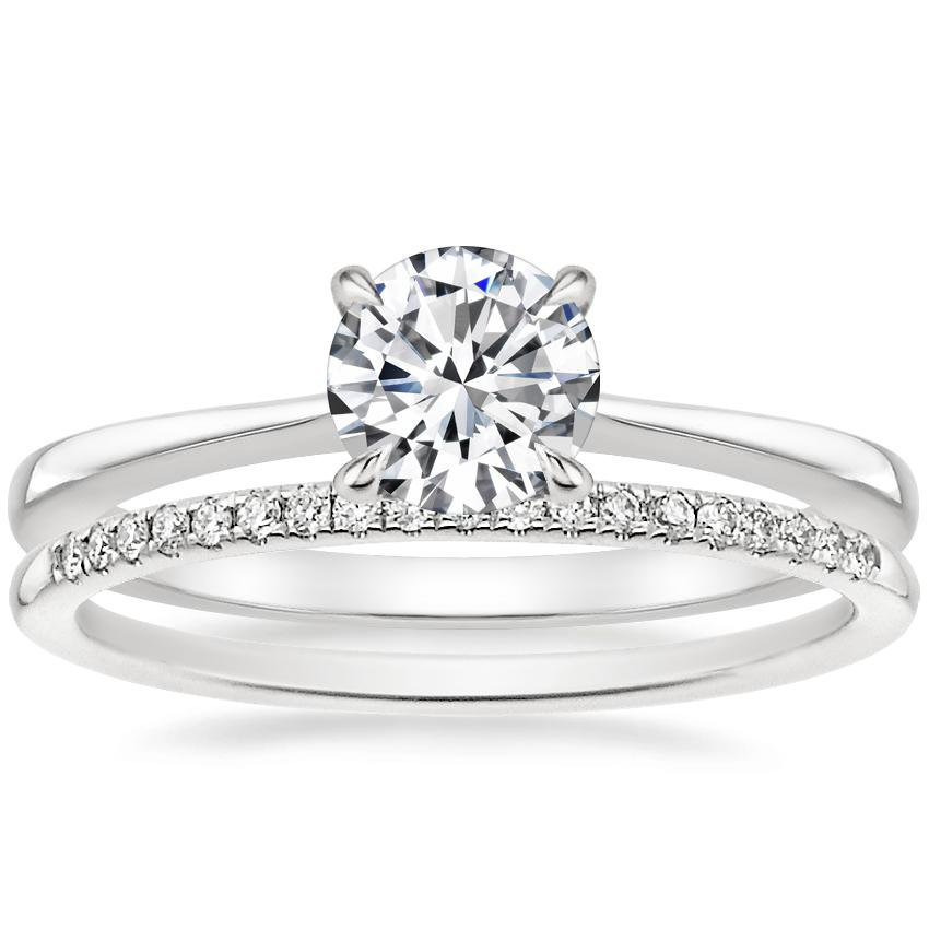 18K White Gold Elle Diamond Ring with Whisper Diamond Ring (1/10 ct. tw.)