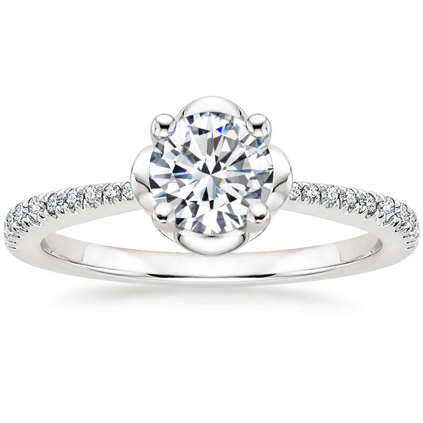 Round Floral Petal Engagement Ring