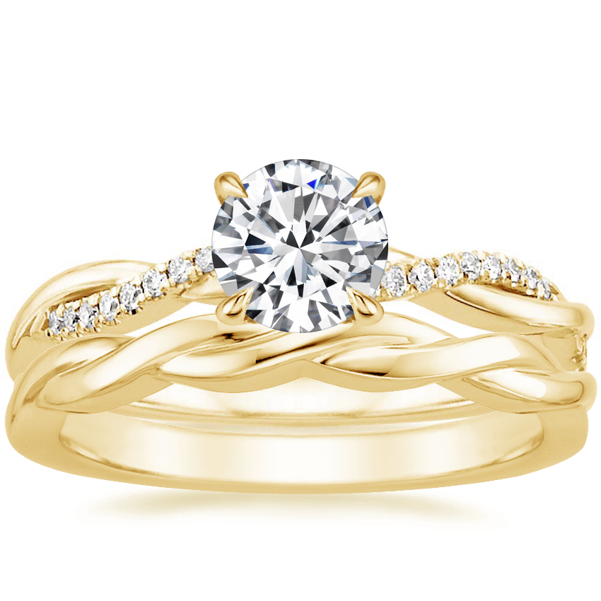 18K Yellow Gold Petite Twisted Vine Diamond Ring with Twisted Vine Ring