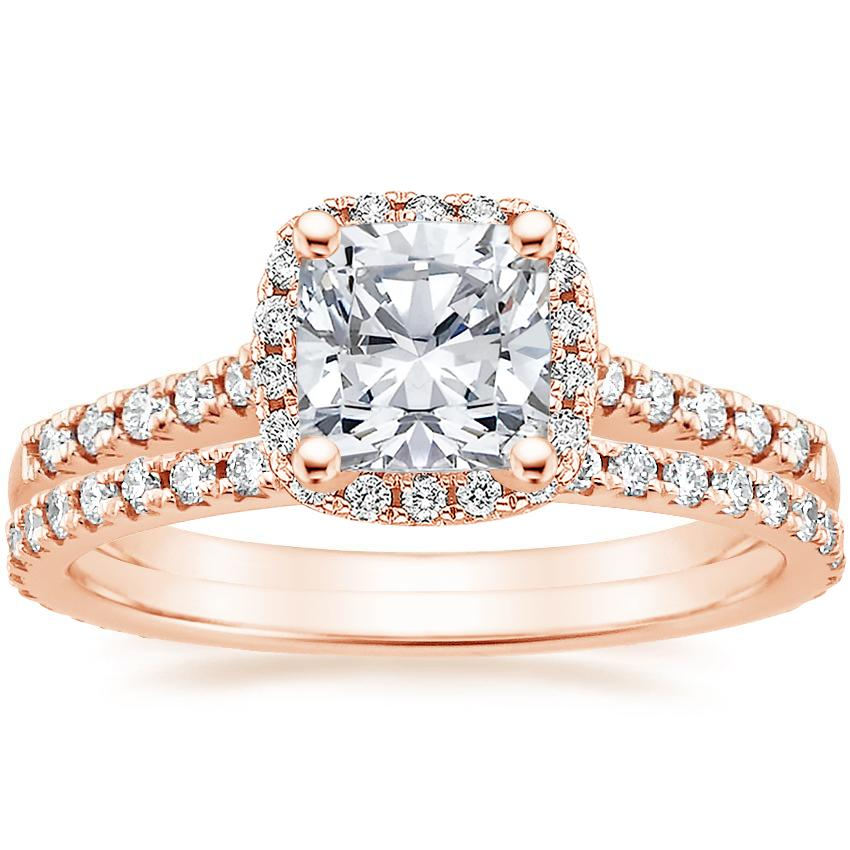 14K Rose Gold Odessa Diamond Ring (1/4 ct. tw.) with Sonora Eternity Diamond Ring (3/8 ct. tw.)