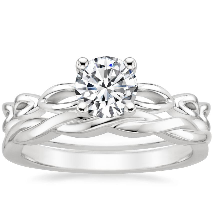 18K White Gold Unity Ring with Twisted Vine Ring