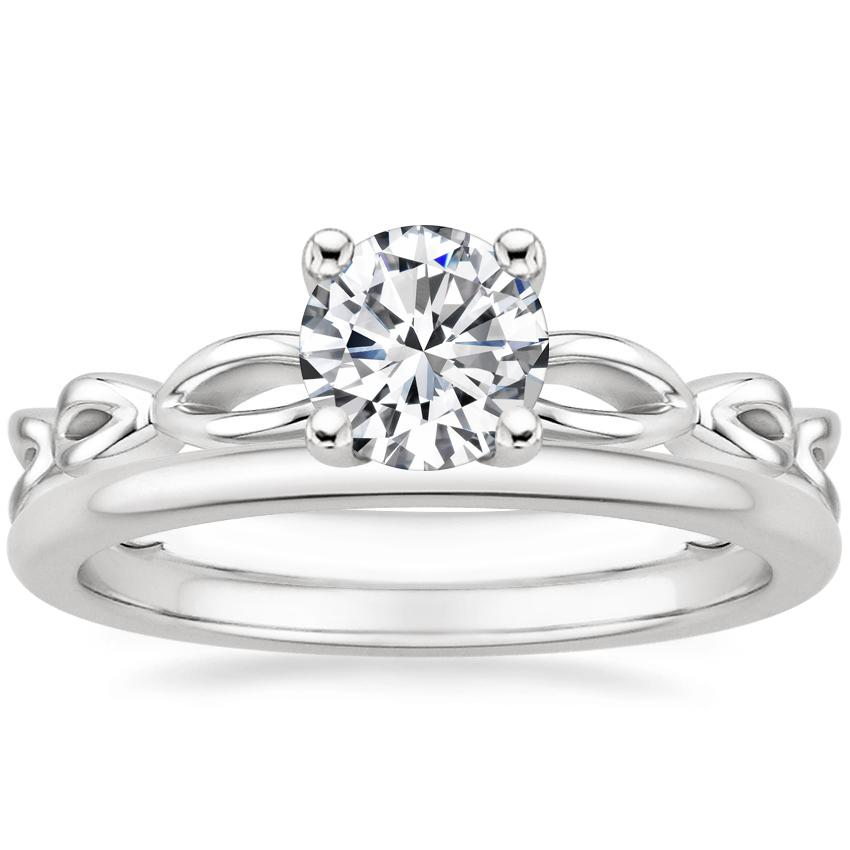 18K White Gold Unity Ring with Petite Comfort Fit Wedding Ring