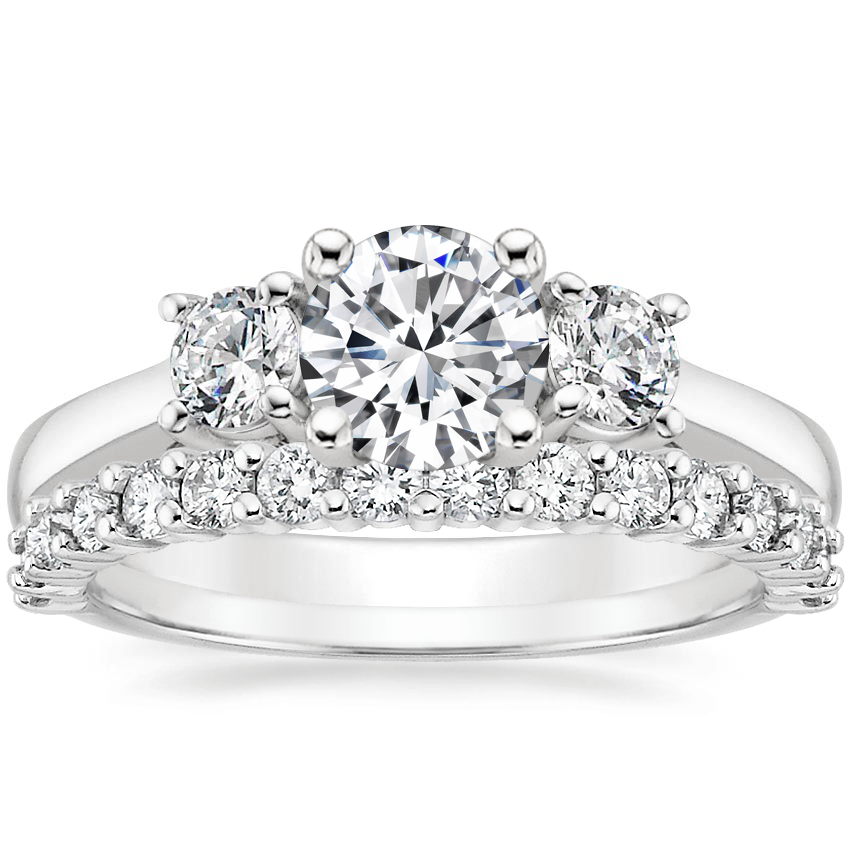 18K White Gold Petite Three Stone Trellis Diamond Ring (1/3 ct. tw.) with Shared Prong Diamond Ring (2/5 ct. tw.)