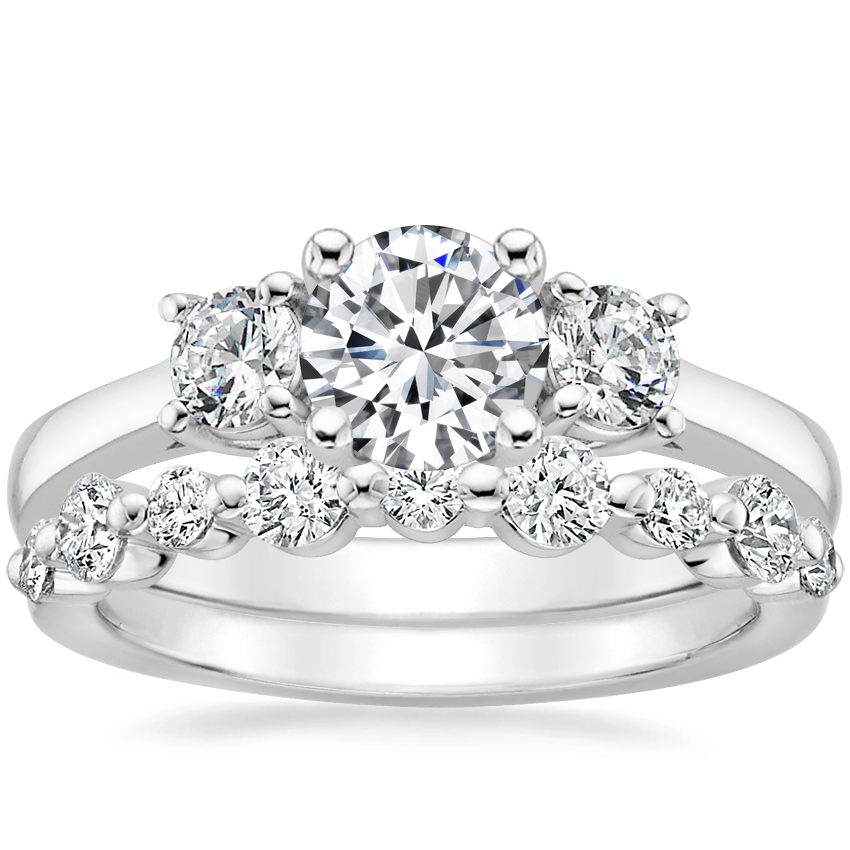 Platinum Petite Three Stone Trellis Diamond Ring (1/3 ct. tw.) with Bordeaux Diamond Ring (1/2 ct. tw.)