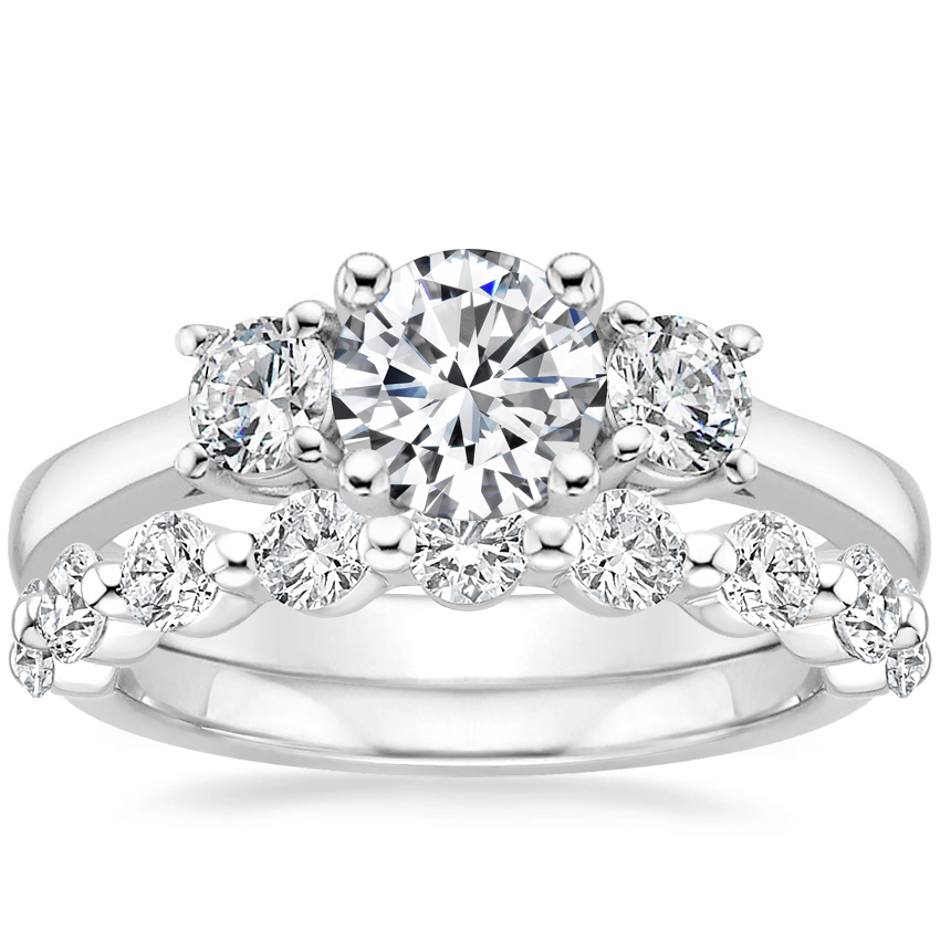 Platinum Petite Three Stone Trellis Diamond Ring (1/3 ct. tw.) with Monaco Diamond Ring (3/4 ct. tw.)