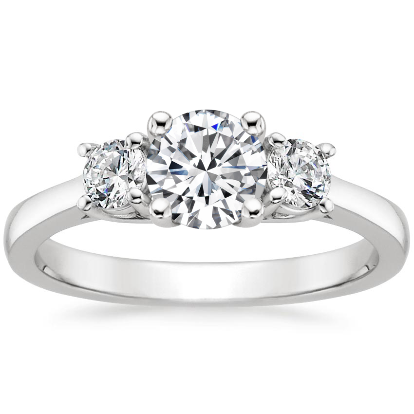 Round 18K White Gold Petite Three Stone Trellis Diamond Ring (1/3 ct. tw.)