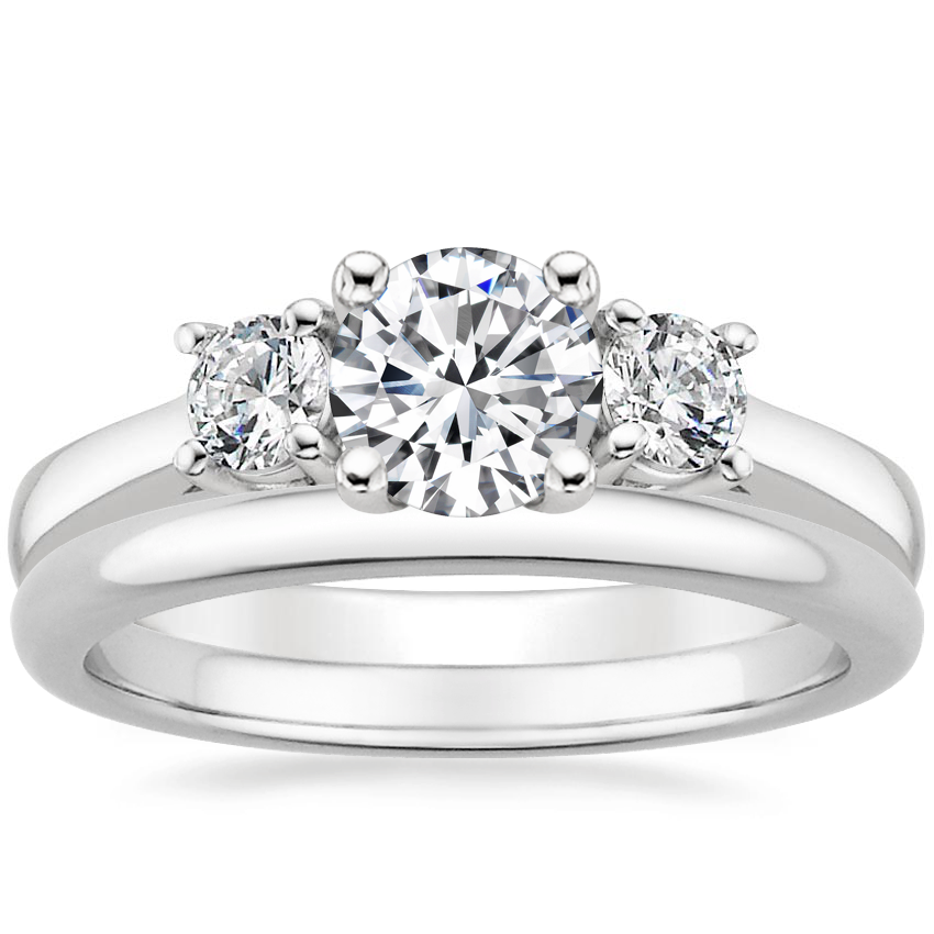 Platinum Petite Three Stone Trellis Ring (1/3 ct. tw.) with 2mm Comfort Fit Wedding Ring